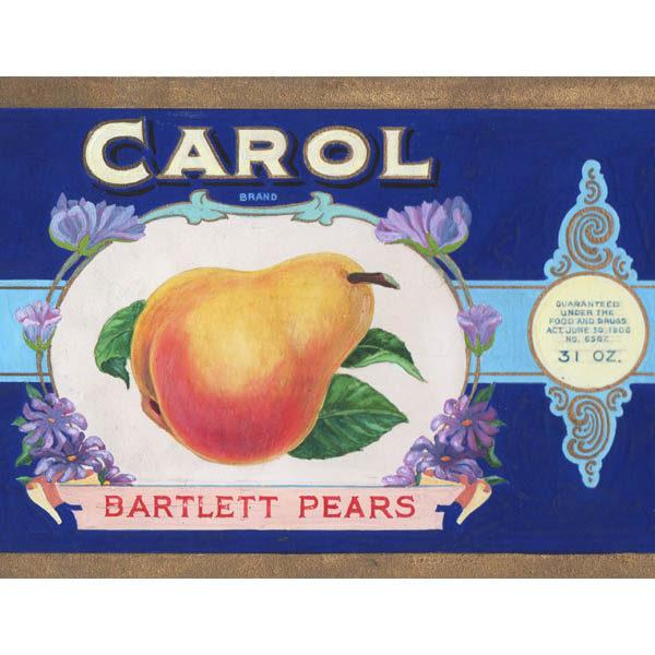 Detail of Carol Brand Bartlett Pears label design