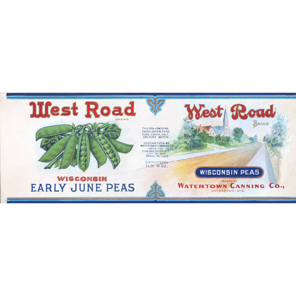 Illustration Art Food Can Label West Road Brand Wisconsin Peas Antique Painting Early 20th Century