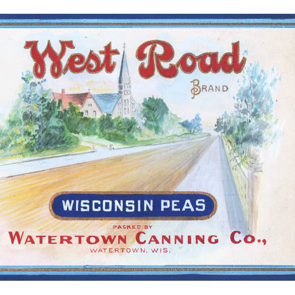 Detail of West Road Brand Wisconsin Early June Peas, Watertown Canning Co., Watertown, Wis. label design