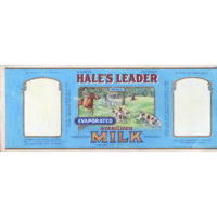 Hale's Leader Brand Evaporated Sterilized Milk, Valencia Condensed Milk Co. Madison, Wis. label design