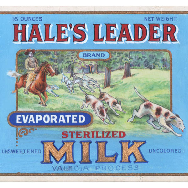 Detail of Hale's Leader Brand Evaporated Sterilized Milk, Valencia Condensed Milk Co. Madison, Wis. label design