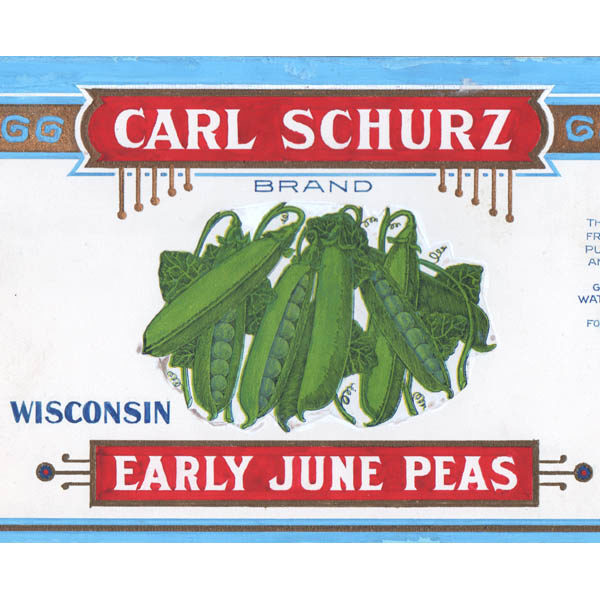Detail of Carl Schurz Early June Peas label design
