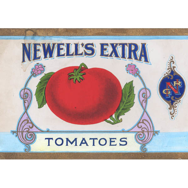 Detail of Original illustration art for Newell's Extra Tomatoes, Geo. R. Newell & Co. Distributors, Minneapolis, Minn.