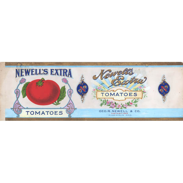 Illustration Art Food Can Label Newell S Extra Tomatoes Antique Painting Early 20th Century