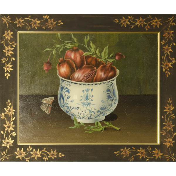Still life painting of pomegranates