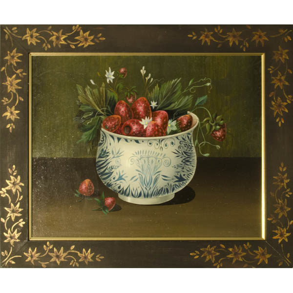 Still life painting of strawberries