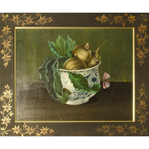 Still life painting of yellow turnips