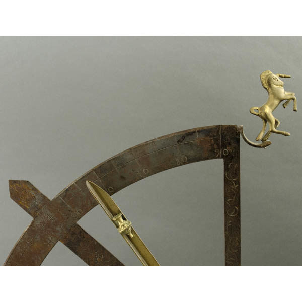 Iron Quadrant, detail of brass unicorn