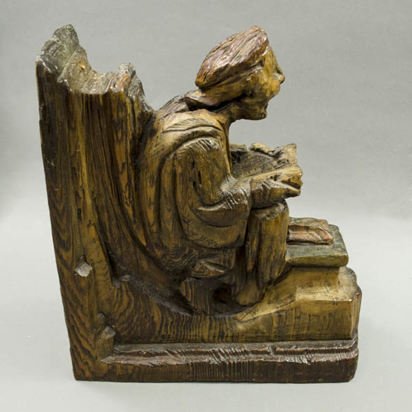 Praying Figure Misericord Chair Armrest, side view