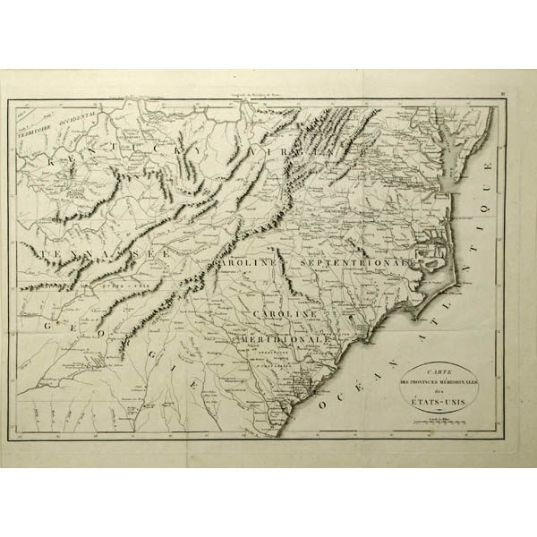 Map, Southeastern United States, Rochefoucauld-Liancourt, Antique ...
