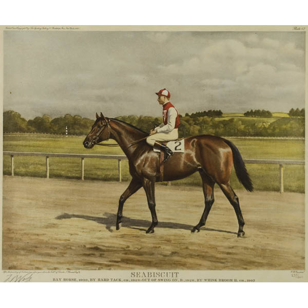 Sporting Art Horse Racing Seabiscuit By Franklin Voss Vintage Print 1940