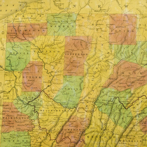 Map, Pennsylvania, Anthony Finley, Antique Wall Map, Philadelphia ...
