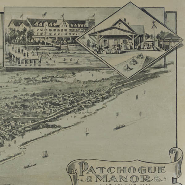 Detail of inset views of Clifton Hotel and Patchogue train station