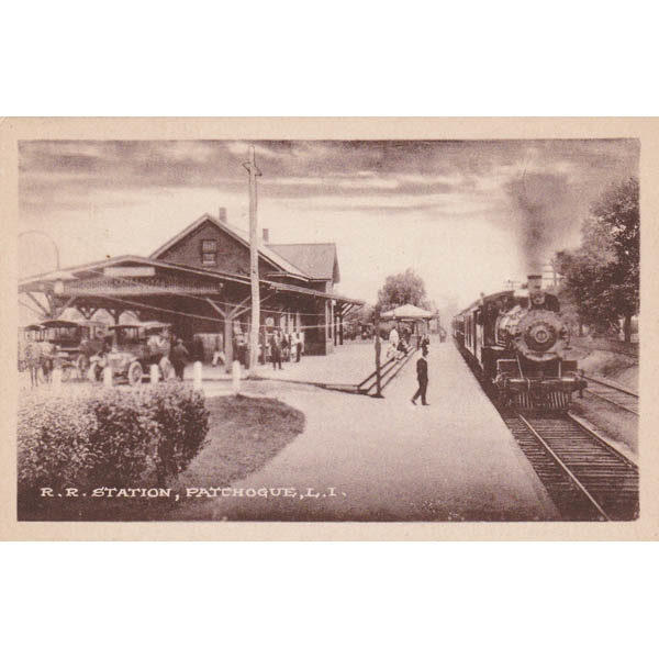 Patchogue Railroad Station, early 20th century, from the collection of the Greater Patchogue Historical Society