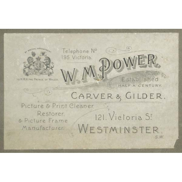 Label of London picture framer W.M. Power