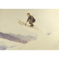 Ski Jumper Watercolor by Wayne Davis