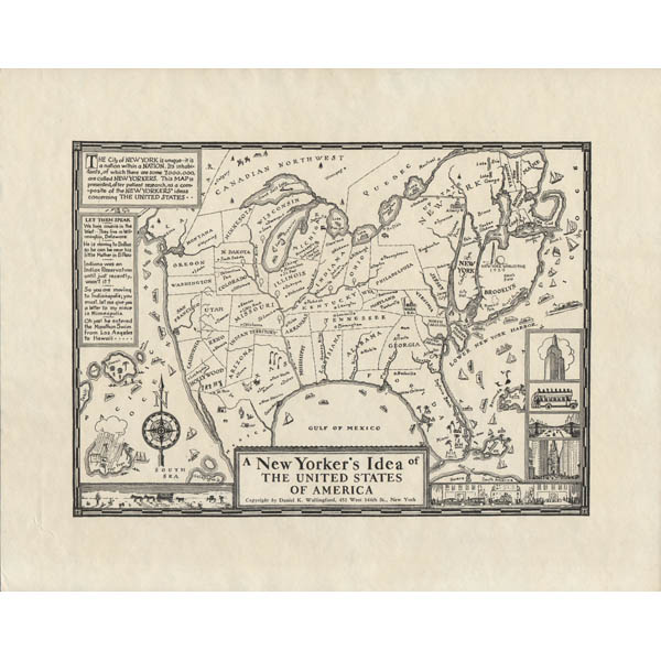 Map United States Pictorial New Yorkers Idea Daniel Wallingford - Us-map-1930