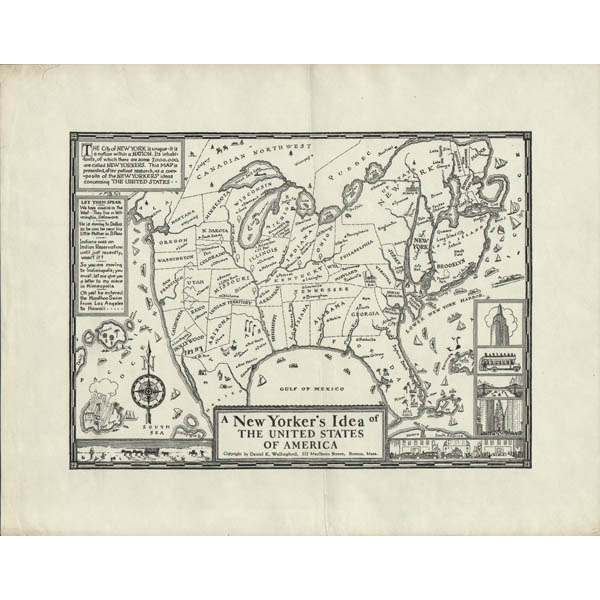 Map United States Pictorial New Yorker S Idea Bostonian S Idea