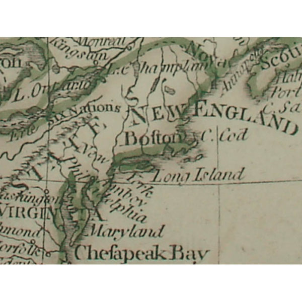 A General Map Of The World Or Terraqueous Globe, Detail of New England