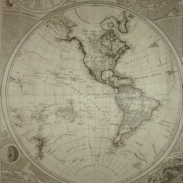 A General Map Of The World Or Terraqueous Globe, Western Hemisphere