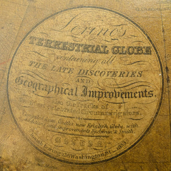 Josiah Loring 12-Inch Terrestrial Globe, Cartouche