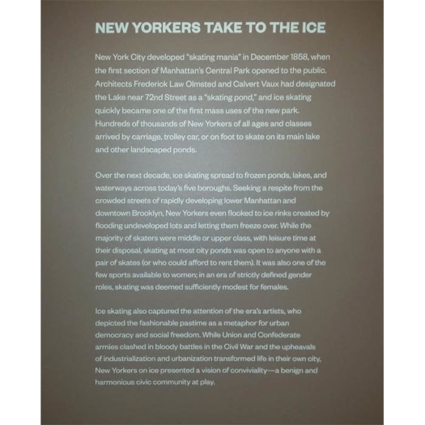 Wall label at 'New York on Ice: Skating in the City'