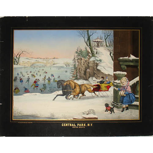 Full sheet, Detail of Central Park, N.Y. Winter Sports