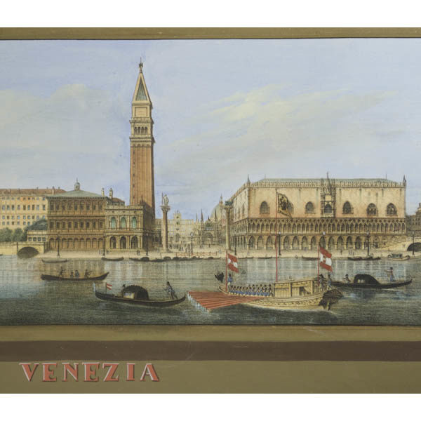 Detail of Venice view, with Campanile, Palazzo Ducale, Piazza San Marco, and barge in foreground.