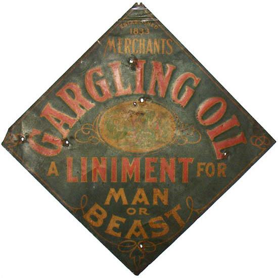 Merchant's Gargling Oil Advertising Sign