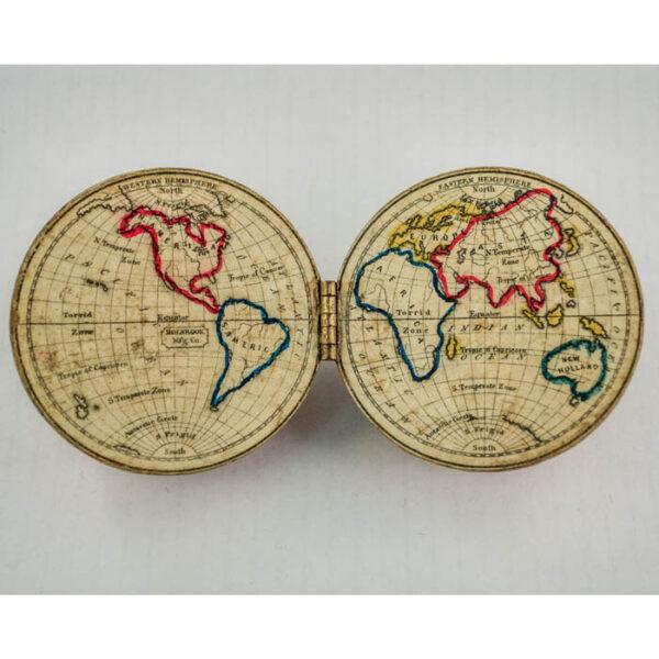 Holbrook 3-inch Terrestrial Hemispheric Pocket Globe, open
