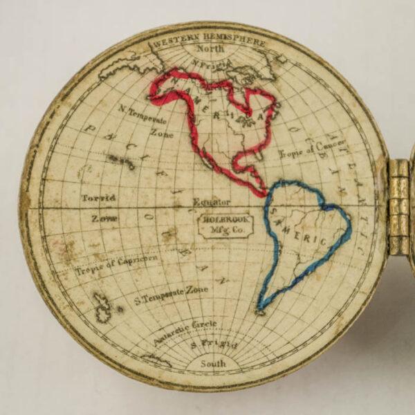 Detail of open globe, Western Hemisphere