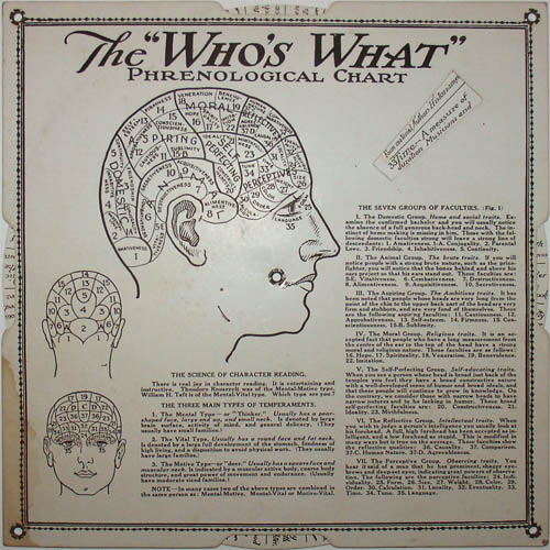 Who's What Phrenology Chart