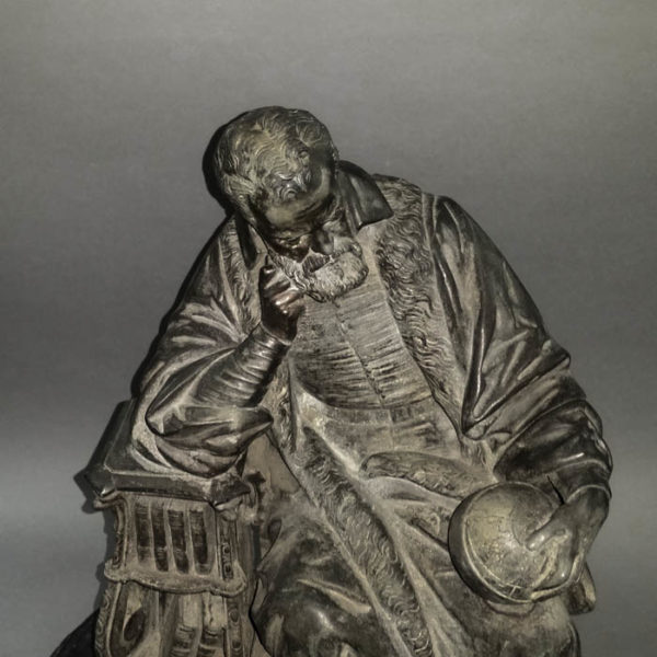 Seated Portrait of Galileo figurine, detail