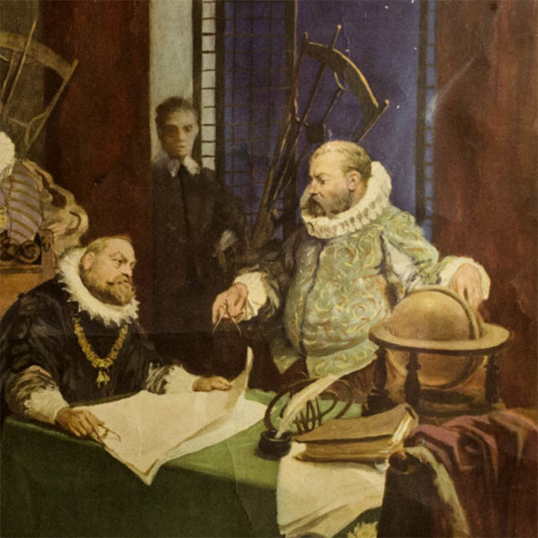 Detail of Tycho Brahe and Rudolf II with globe