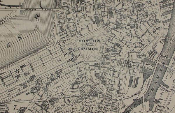 Map of Boston, detail