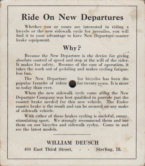 Get Off the Earth Puzzle, advertisement verso for two models of New Departure coaster brakes for bicycles sold by William Deusch, Sterling, Illinois