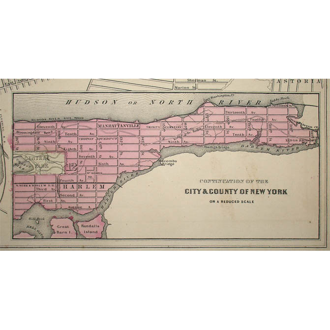 Map New York City Brooklyn Johnson S Atlas Antique Print 1860s