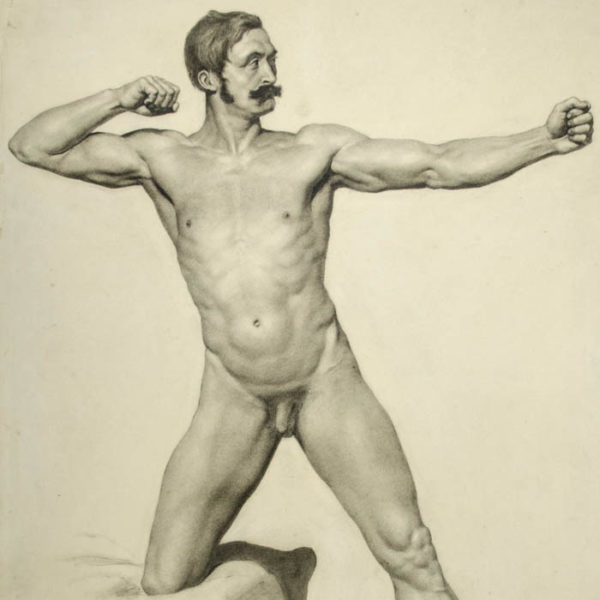 Male Nude, Archer Pose, detail