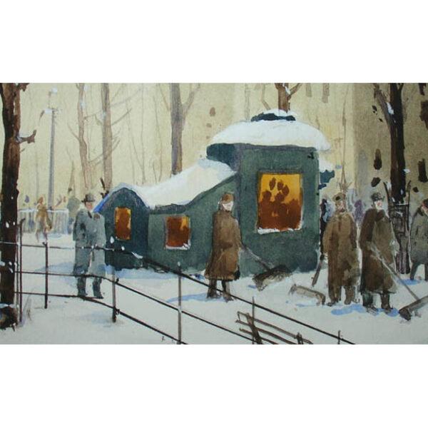 New York City Park Winter Snow Scene