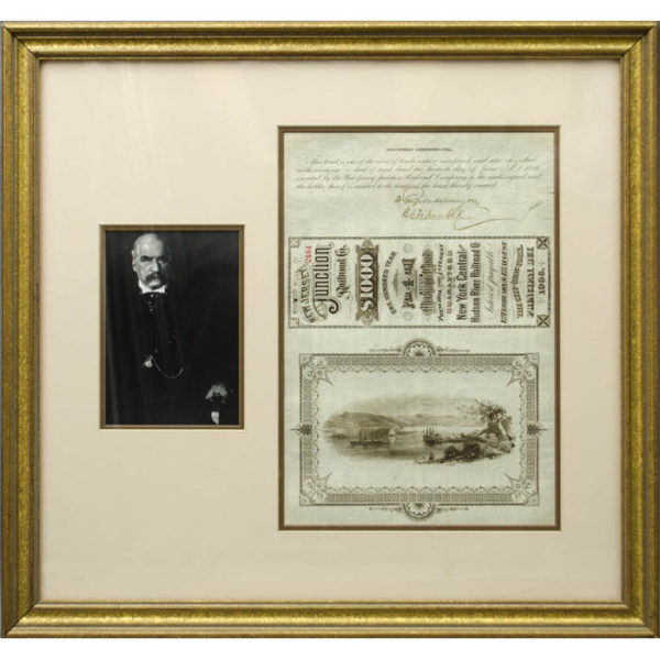 Autographed New Jersey Junction Railroad Co. Bond Certificate framed with Portrait of J.P. Morgan