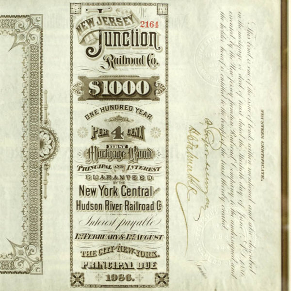 Detail of bond certificate, rotated 90 degrees.