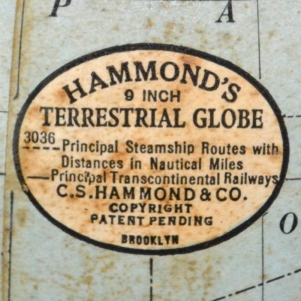 C.S. Hammond & Co. 9-Inch Terrestrial Table Globe, cartouche