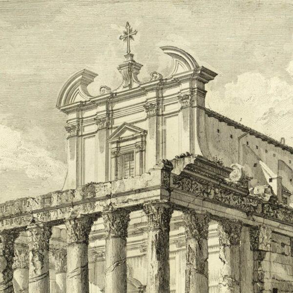 Piranesi, Veduta del Tempio di Antonino e Faustina in Campo Vaccino, detail