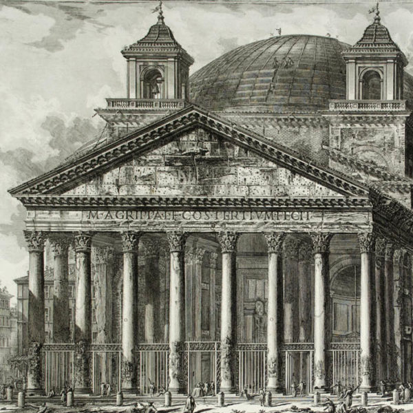 Piranesi, Veduta del Pantheon d'Agrippa oggi Chiesa di S. Maria ad Martyres, detail