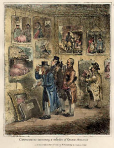 A genre print shows collectors examining an exhibit of works by George Morland, whose work was frequently reproduced in prints.