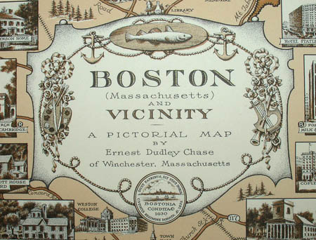 Ernest Dudley Chase, Boston (Massachusetts) and Vicinity: A Pictorial Map, detail