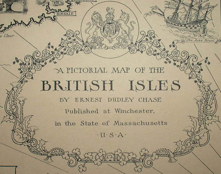 Ernest Dudley Chase, A Pictorial Map of the British Isles, detail