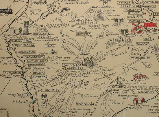 Ernest Dudley Chase, Aloha: A Pictorial Map of the Hawaiian Islands, the United States' Fiftieth State, detail