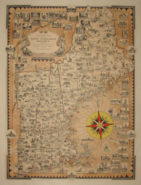 Ernest Dudley Chase, A Pictorial Map of the New England States, U.S.A.