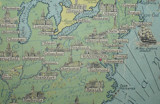 Ernest Dudley Chase, A Pictorial Map of North America, detail